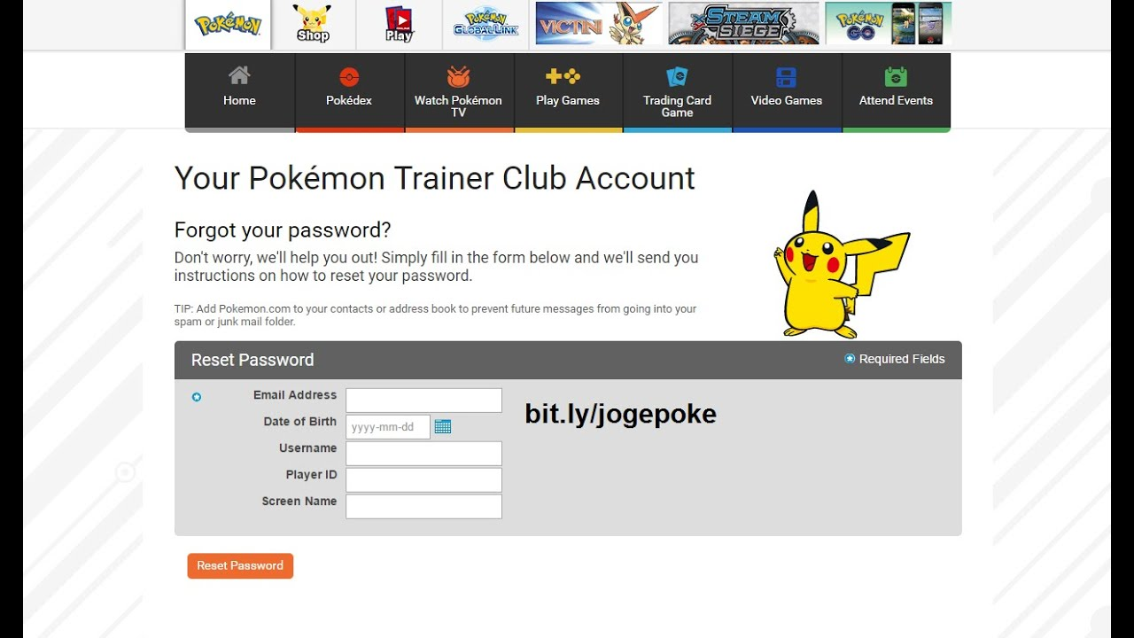 POKEMON GO Account Password Recovery Not Working