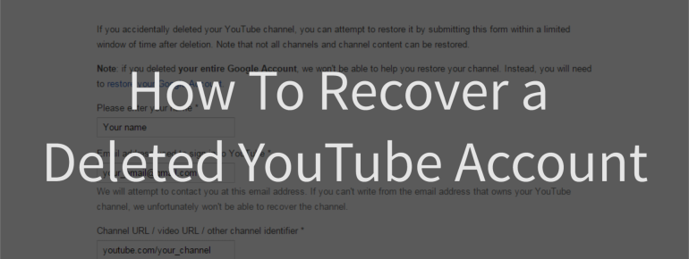 YOUTUBE Account Password Recovery Not Working